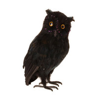 RAZ Large 14 Black Feathered Owl Halloween Decoration
