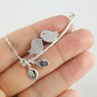 Love birds On A Branch Monogram Necklace, Sterling Silver Chains, Hand Stamped Initial Personalized Jewelry, Mother Daughter Necklace, Gift