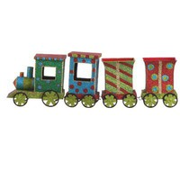 RAZ Whimsical Glittered 19 Metal Train Christmas Decoration