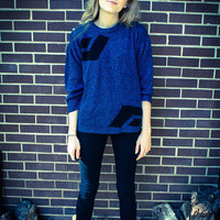 Repurposed / Recycled Vintage Blue Black Print Studded Shoulder Sweater