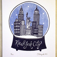 New York City Snowglobe State Series Letterpress Print by 1canoe2
