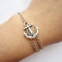 Bracelet---antique silver little anchor bracelet &amp;alloy chain