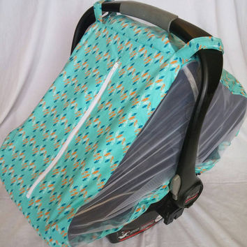 Fitted car seat cover for spring/summer - Turquoise infant car seat canopy - Mosquito net for baby car seat - Infant car seat bug cover