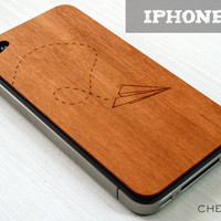 Paper Airplane Etching on Real Wood iPhone 5 Cover