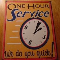 ONE HOUR SERVICE Classic Cars VINTAGE RUSTIC TIN SIGN | eBay