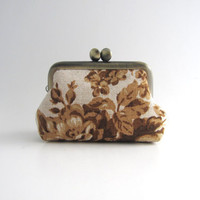 Frame Coin Purse- mini  jewelry case with ring pillow- brown roses on natural beige