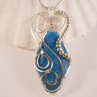 Wire Wrapped Jewelry, Pendant Necklace, Blue Dragon Vein Agate, Handmade, elainesgems