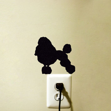 Poodle Dog Velvet Wall Decal - Black Fabric Sticker - Poodle Laptop Decal