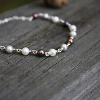 Multi-Color Pearl Bracelet - Freshwater Pearl Bracelet - Ivory Pearls Peacock Pearls and Silver Pearls