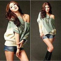 Womens Contrast color Cardigan Sweater V-neck Loose Lady Casual Fashion Pullover