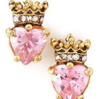 NEW Authentic Juicy Couture CZ Pink Heart Gold Crown Studs Earrings