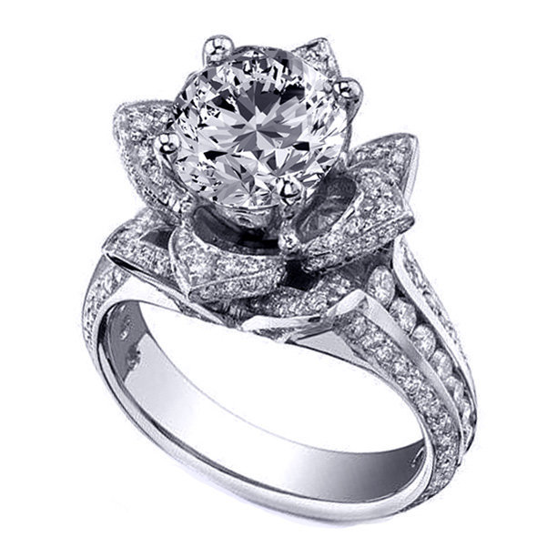 Engagement Ring - Floral Lotus Diamond Engagement Ring In 14K White Gold - ES997BR