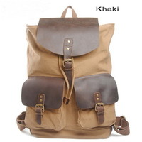 Leather flap canvas haversack with double front pockets from Vintage rugged canvas bags