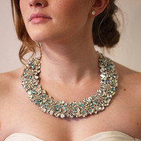 Crystal Necklace with hints of Blue Crystals for your Wedding day