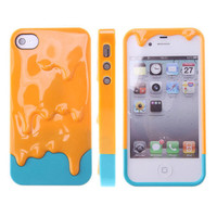 3D Melt Ice-Cream Skin Protect Hard Case Cover For Apple iPhone 4 4S MangoYellow