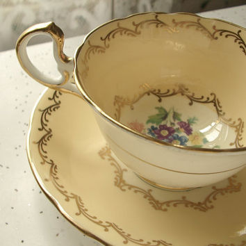 antique yellow tea cup and saucer set from shoponsherman on etsy. Black Bedroom Furniture Sets. Home Design Ideas