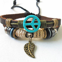 Adjustable leather bracelet Peace symbol bracelet men bracelet women bracelet made of leather ropes Peace symbol cuff bracelet  SH-1206