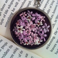Pink and Lavender Flower Pendant  Silk by BeanTownEmbroidery
