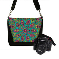 Padded Camera Bag Dslr Camera Tote Bag Slr Camera Bag Purse  - Deluxe paisley bohemian boho teal fuschia