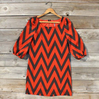 Falling for Chevrons Dress in Rust, Sweet Women's Bohemian Clothing