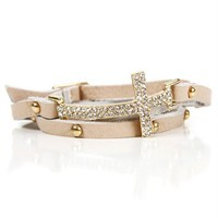 Gold/Beige Rhinestone Wrap Bracelet