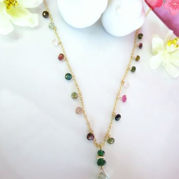Rainbow tourmaline green amethyst pendant gold filled necklace