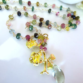 Rainbow tourmaline rosary gold cherry blossom pendant necklace, gold cherry blossom green amethyst rosary necklace