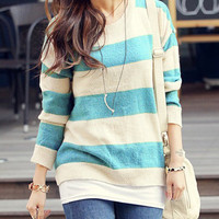 Free Shipping NWT SP111 High Quality Loose Stripes Jumpers/Sweaters (2 Colors)