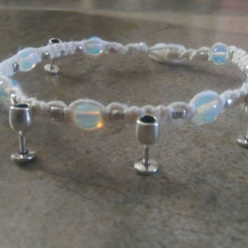 Hemp Anklet, Wine Charms, Opalite Moonstone Beads, White Hemp, Gift for Her, Free Shipping in USA
