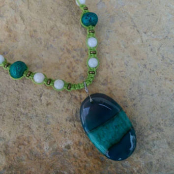 Druzy Agate Hemp Necklace, Chrysocolla, Moonstone, Hemp Necklace, Gift for Her, One of a Kind, FREE Shipping in USA
