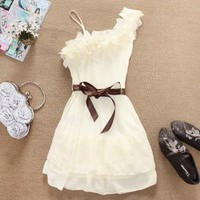 Refreshing Flower Embellished Neckline One-Shoulder Chiffon Dress For Women