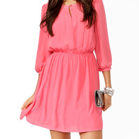 Pintucked 3/4 Sleeve Dress