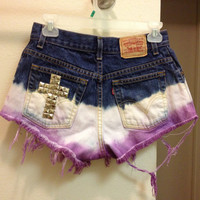 High Waisted Levis dipped into bleach and purple with studded cross