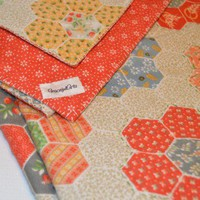 Baby Blanket Quilted Faux Patchwork and Orange Print Flannel
