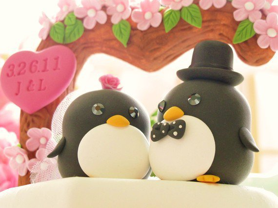 Custom Wedding Cake Topper Handmade lovely Penguins by kikuike