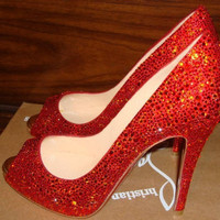 Swarovski rhinestone Crystal platform red peep toe by CrstalSpade