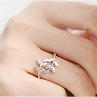 HOT Fashion Exquisite Alloy Rhinestone Double Leaf Ring Rings