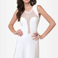 See You Through Ivory Cutout Dress