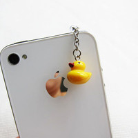 Yellow Mini Rubber Duck Charm iphone Earphone Plug - Cellphone Headphone Handmade Decorations