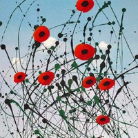 Poppies in the Sky Modern Art Painting By Todd Young | toddyoungart -  on ArtFire