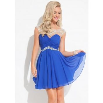Rachel Allan 6635 Beaded Illusion Short Dress