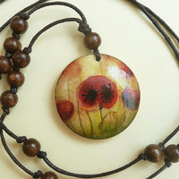 Romantic Pendant Necklace, Poppies, Hand Painted Wood Pendant, Beadwork