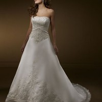 Design A Line Strapless Court Train Satin Sleeveless Wedding Dress-$436.99-ReliableTrustStore.com