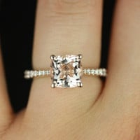 14kt Rose Gold Cushion Morganite and Diamond Cathedral Engagement Ring (Other metals and stone options available)
