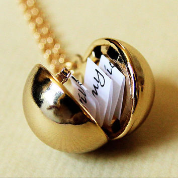Shiny Gold Secret Message Locket - Vintage Brass Ball Locket Necklace - New Edition