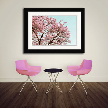 Cherry Blossom Tree, Spring Photography, Pastel Nature Print, Soft Pink Tree, Tiffany Blue, Easter Egg Blue, Bedroom Decor, Branches, Leaves