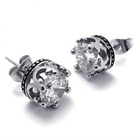 Titanium Steel Transparent CZ Crown Shape Stud by Hallomall on Zibbet