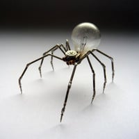 Mechanical Spider Sculpture No 4 Recycled Watch Parts Clockwork Arachnid Figurine Stems Lightbulb Arthropod A Mechanical Mind Halloween