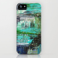 AQUATIC COMMOTION in Color - Textural Ocean Beach Nautical Abstract Acrylic Painting Wow Winter Xmas iPhone Case by EbiEmporium | Society6
