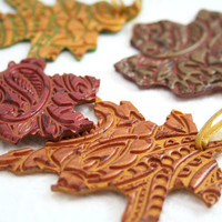 Autumn Leaf Ornament Set in Polymer Clay